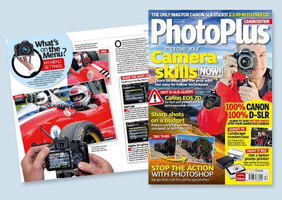 Photoplus magazine spread design and cover
